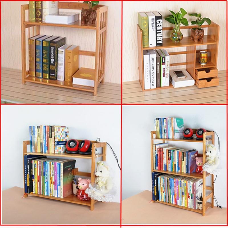 桌上收纳架两层简易带抽屉书架办公桌面置物架竹子儿童小书架书柜图片