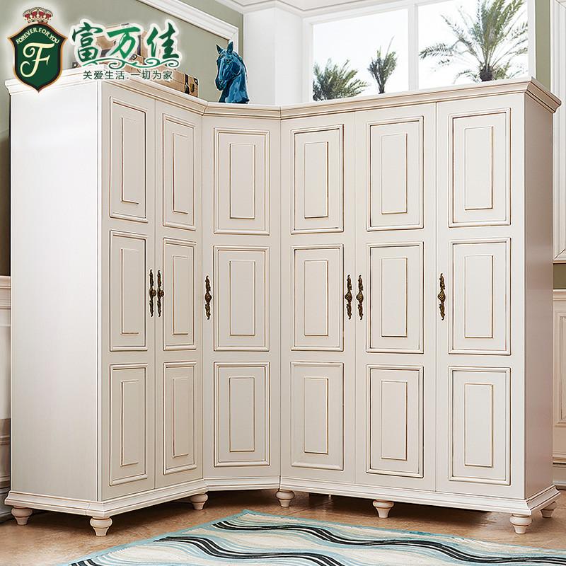 欧式实木衣柜 推拉门美式转角六门顶柜储物柜 卧室二三四门大衣橱