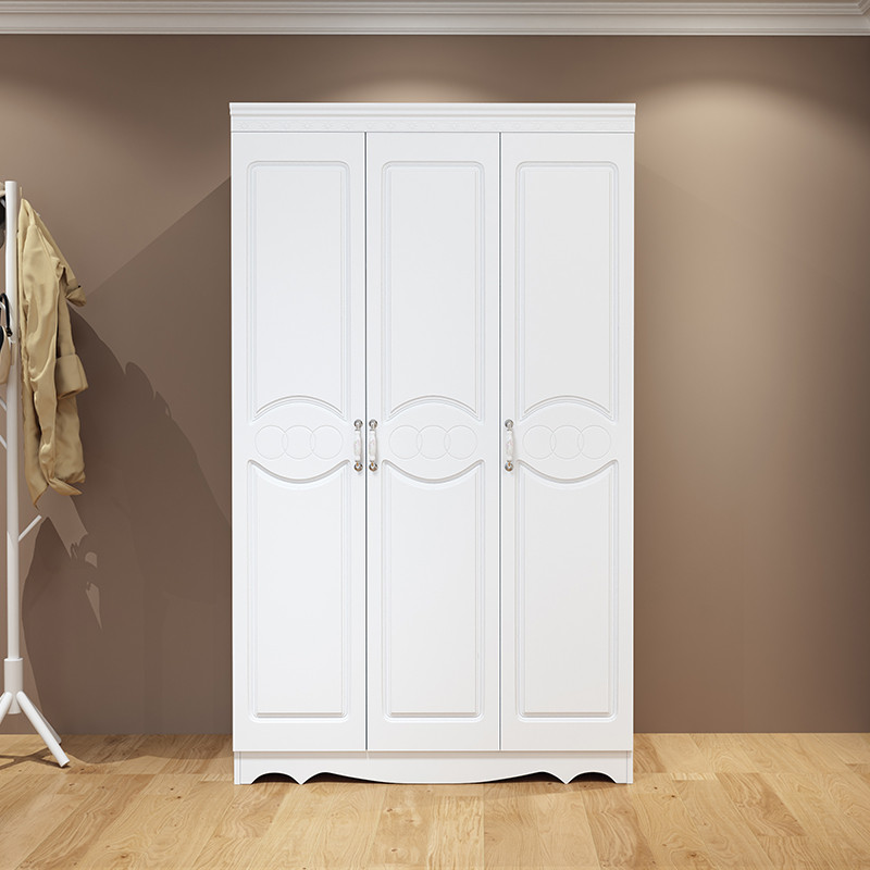 欧式衣柜简约现代经济型卧室组装2三门5白色木质四门实木板式衣橱