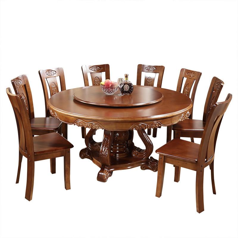 实木大圆桌子饭桌带转盘酒店餐桌椅组合1.6米8人家用中式家具