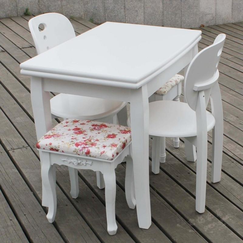 白色实木餐桌可伸缩折叠小户型餐台多功能田园小餐桌椅组合小桌子