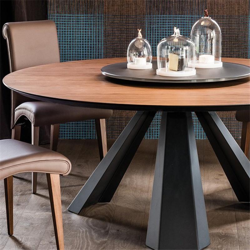 实木大圆桌 客厅餐桌椅组合 新中式现代简约酒店圆形餐桌46人饭桌