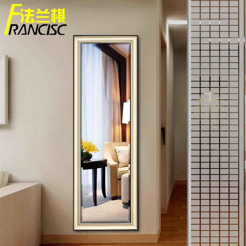 穿衣镜简约现代金色拉丝框有框镜子壁挂全身镜落地式带支架试衣镜