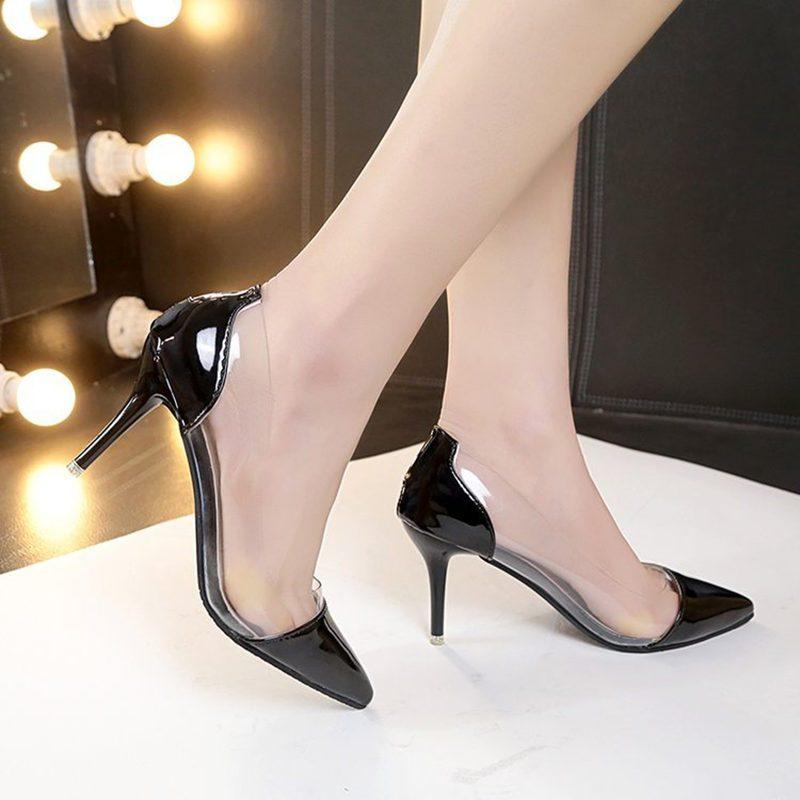 单鞋女春秋季新款欧美尖头浅口气质优雅简约高跟鞋细跟水晶拼接时尚