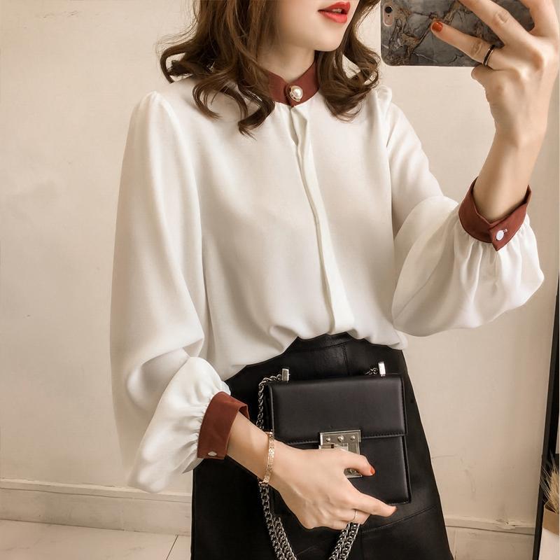 2018春季新款韩版宽松拼色灯笼袖雪纺衫女长袖上衣气质立领衬衣潮
