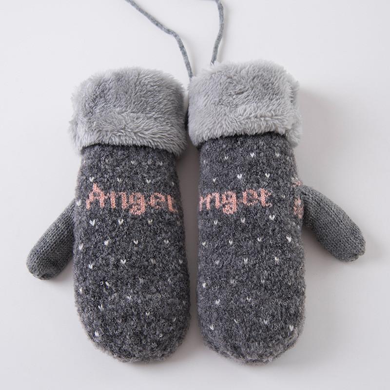 新款韩版情侣手套女冬可爱全指手套针织冬季保暖手套加厚加绒挂绳手套