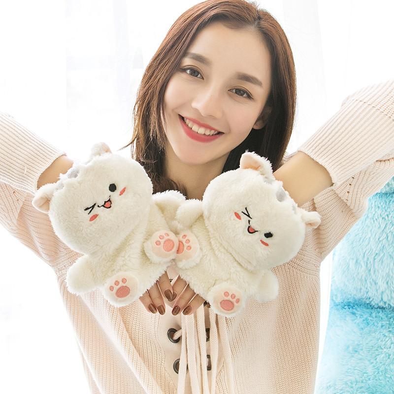 可爱猫咪爪子卡通韩版半指日系女式手套冬季毛绒保暖加绒加厚学生