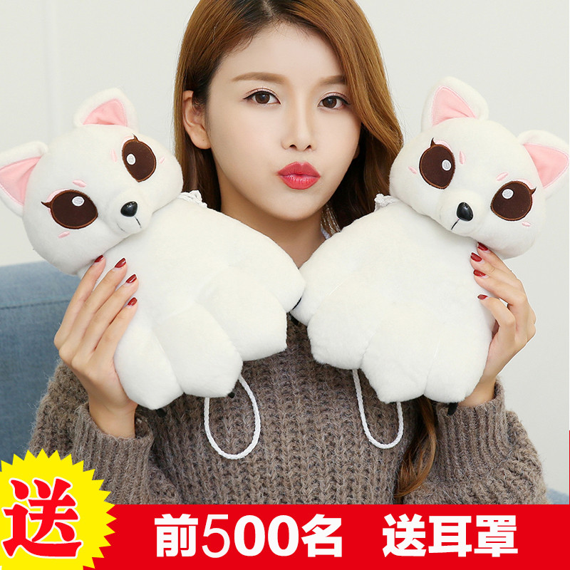 冬季情侣加绒加厚动物爪子韩版卡通可爱男女学生保暖挂脖手套礼物