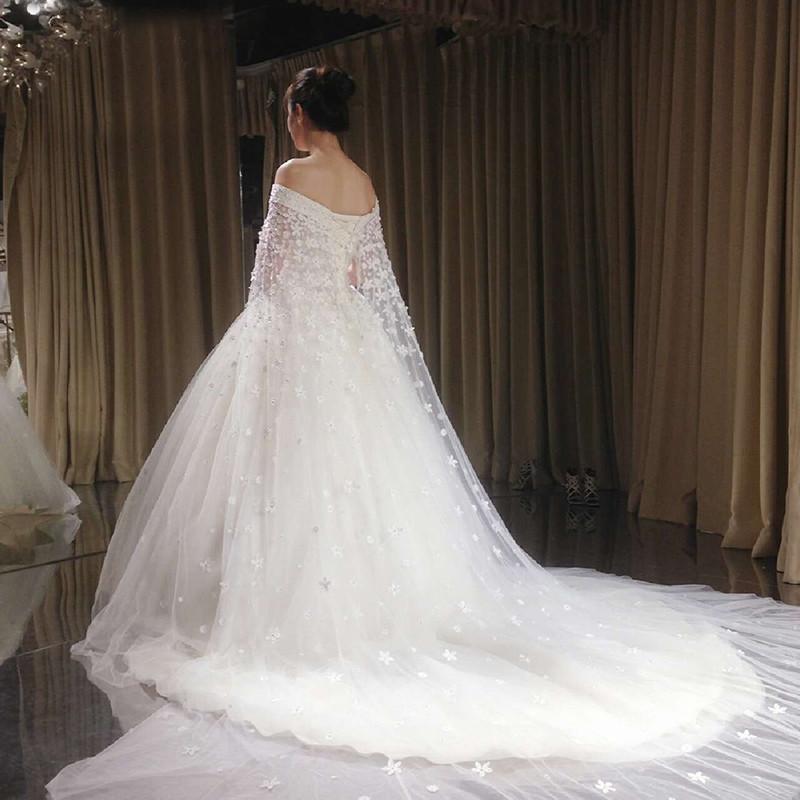 婚纱2017新款新娘结婚拖尾公主显瘦宫廷长拖尾一字肩大拖尾