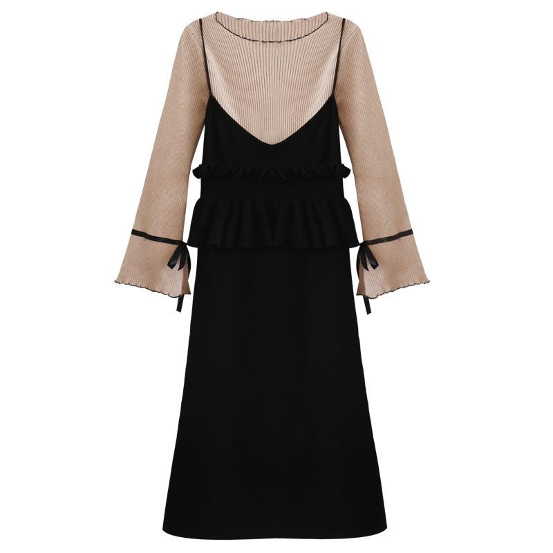 两件套连衣裙秋季2017新款韩版针织衫木耳边吊带裙套装潮