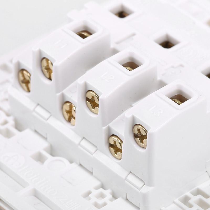 飞雕开关插座面板 三开双控开关面板 86型三联三位双控电源墙壁开关