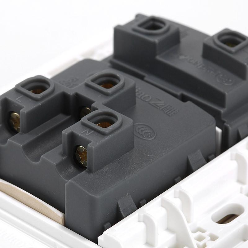 飞雕开关插座面板 单开一开单控三孔带开关插座 16a一