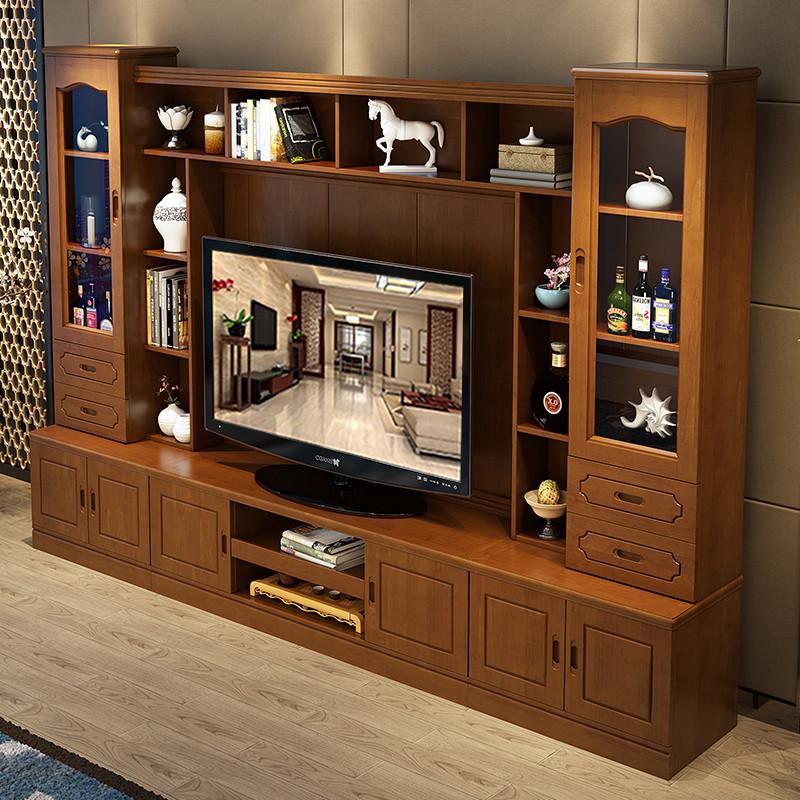 千禧盛世 实木电视柜现代简约地柜组合电视背景墙柜机图片
