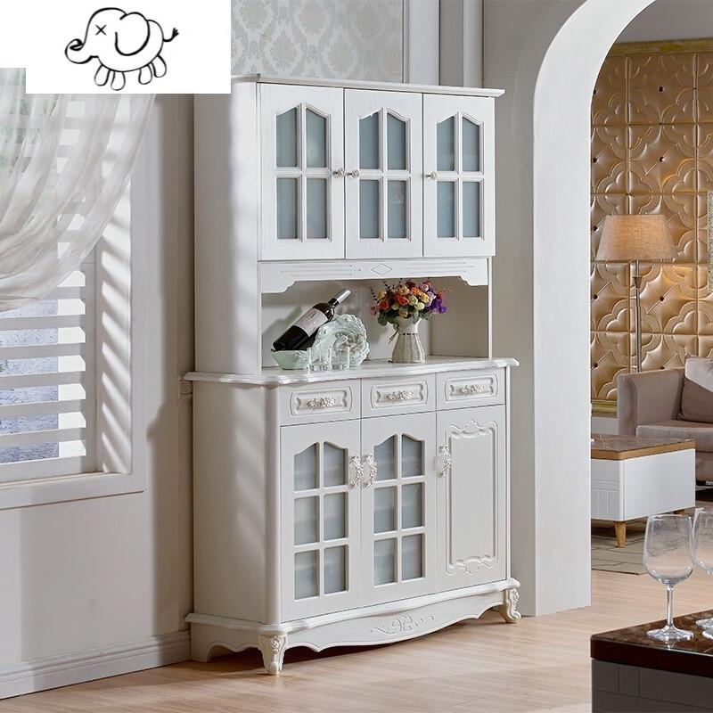 牧马人欧式美式餐边柜现代简约客厅餐厅酒柜碗柜厨房储物柜实木茶水柜