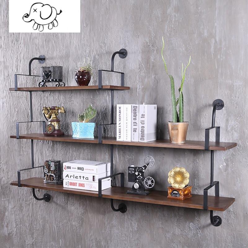 牧马人墙上书架实木置物架壁挂一字隔板创意壁柜层板铁艺支架工业风