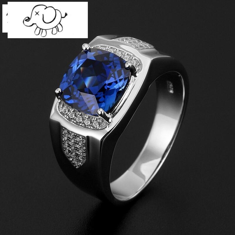 正方形坦桑石色蓝宝石戒指男925纯银镀金镶嵌彩宝石指环潮人个性