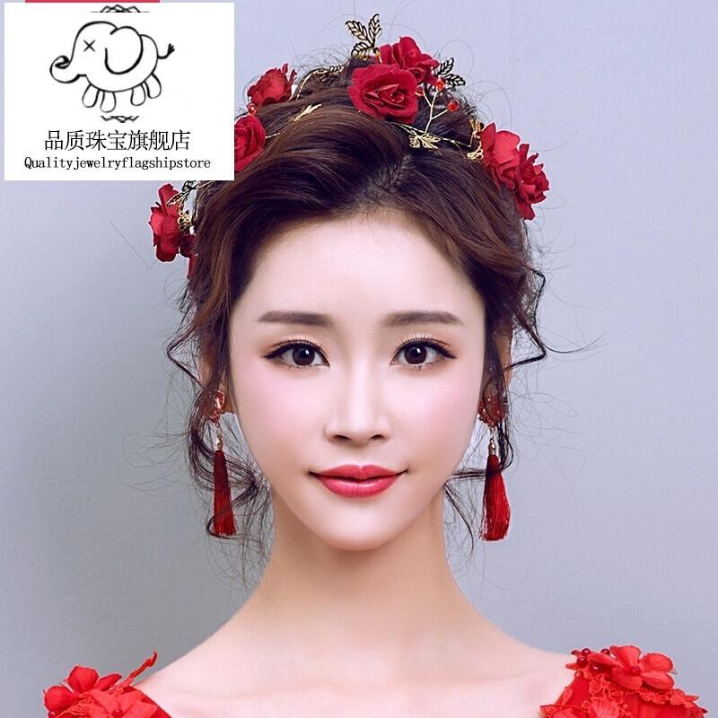 nvwu 圣诞节韩式复古红色玫瑰金色新娘头饰结婚敬酒礼服中式发饰品图片