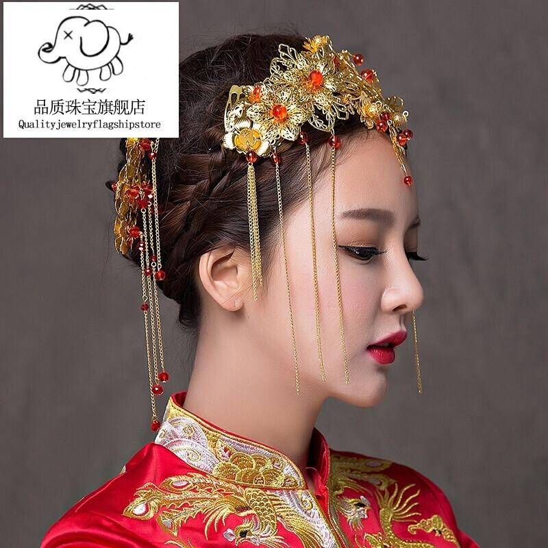 nvwu红色中式头发饰新娘结婚秀禾服古装头饰三件套礼品