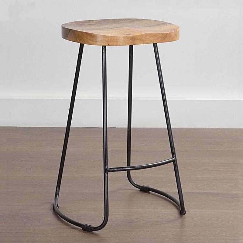 现代简约家用铁艺实木吧台椅子高脚凳时尚创意咖啡厅酒吧吧椅凳子
