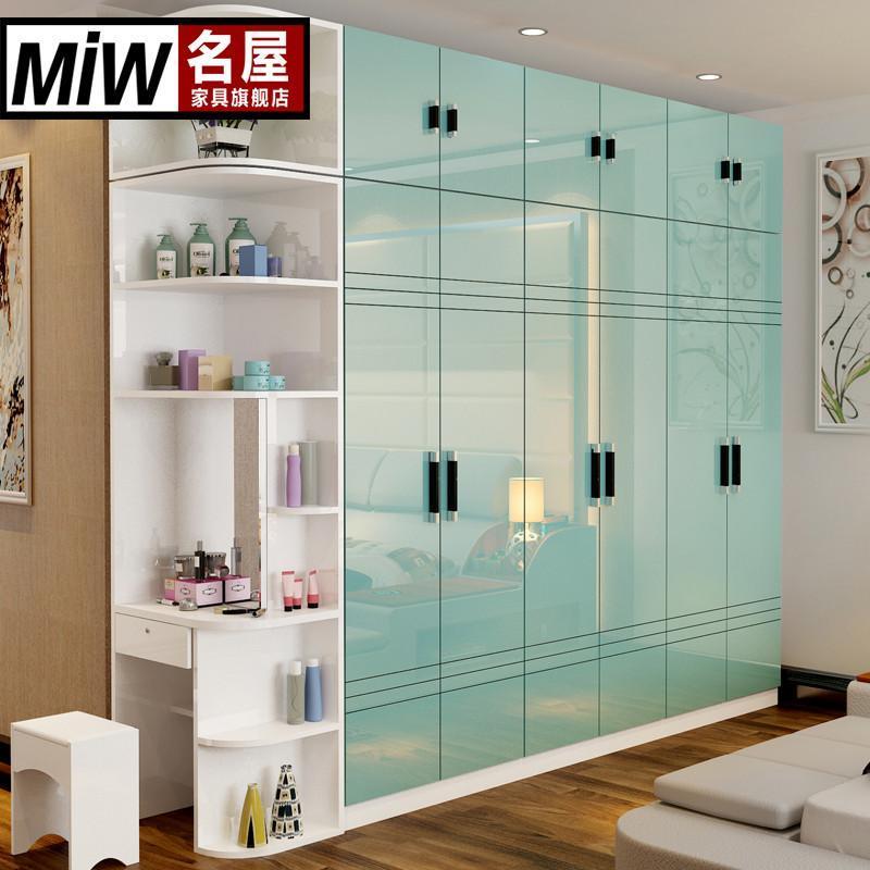 衣柜现代简约卧室组合白色烤漆衣柜六五门整体大衣柜板式衣橱家具