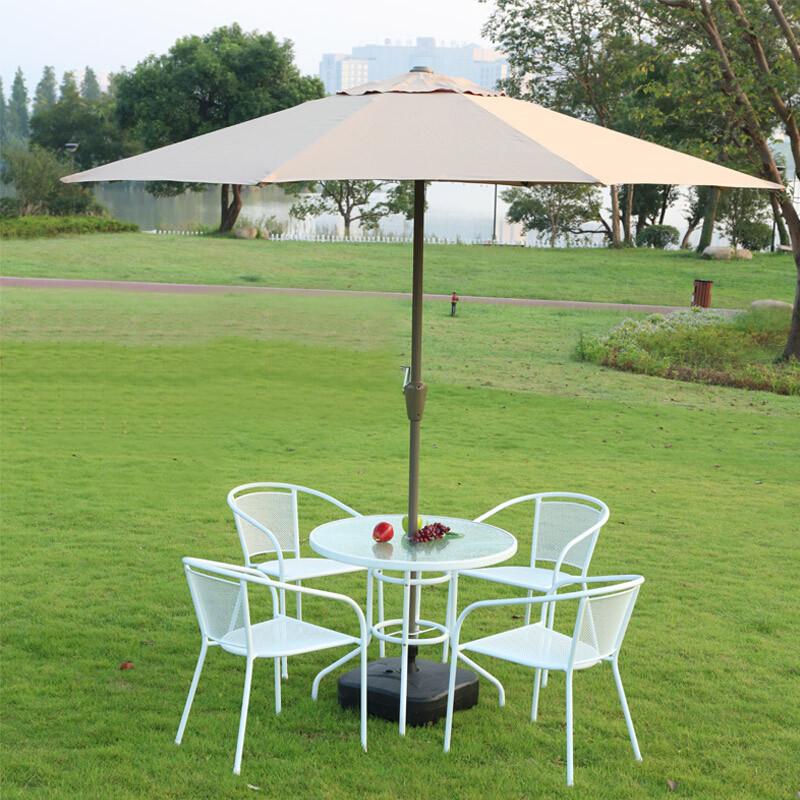 露天桌椅家具组合太阳伞铁艺白色户外休闲室外花园阳台庭院