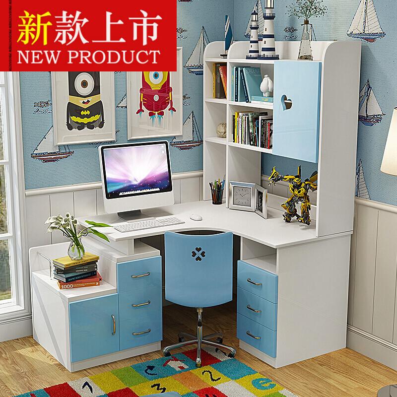简约现代书桌学习桌转角书台书架电脑桌直角书桌书柜组合816蓝色(安装
