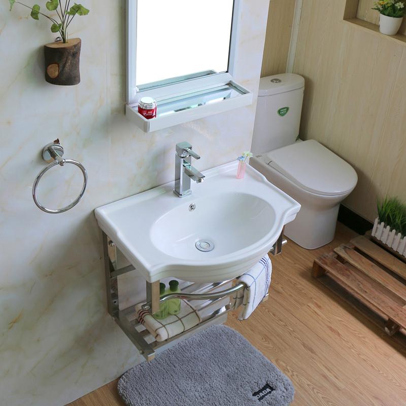 陶瓷洗手盆彩花阳台迷你挂墙式洗脸盆小户型卫生间简易洗漱台支架