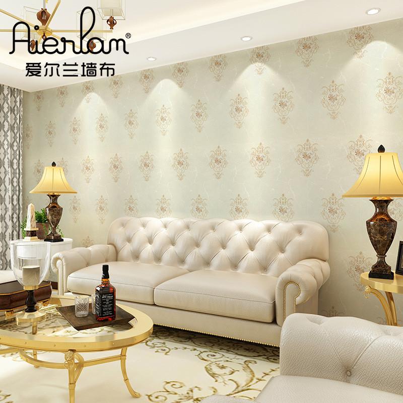 高檔客廳刺繡墻布簡歐風格客廳歐式墻紙臥室無縫壁布批發一件代發