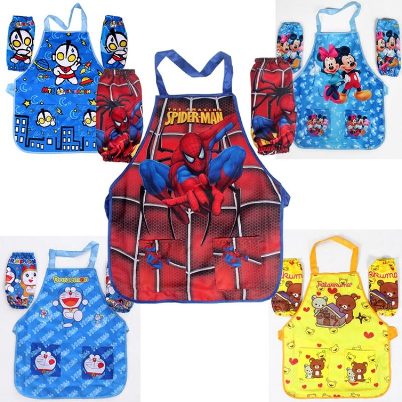 spider-man围裙带袖套奥特曼防水儿童画画衣蜘蛛侠超人防脏3件