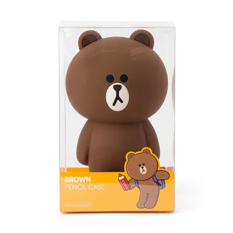 布朗熊卡通化妆包收纳包便携手拿少女韩国小号可爱笔袋文具零钱包