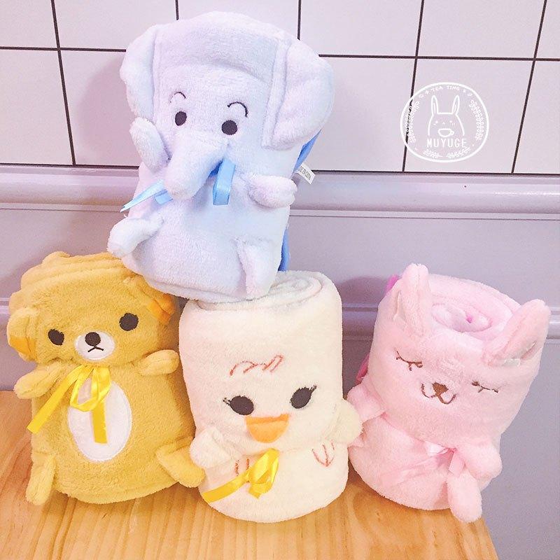 韩国可爱卡通小动物纯色毯子日系办公室午睡午休珊瑚绒毛毯空调毯
