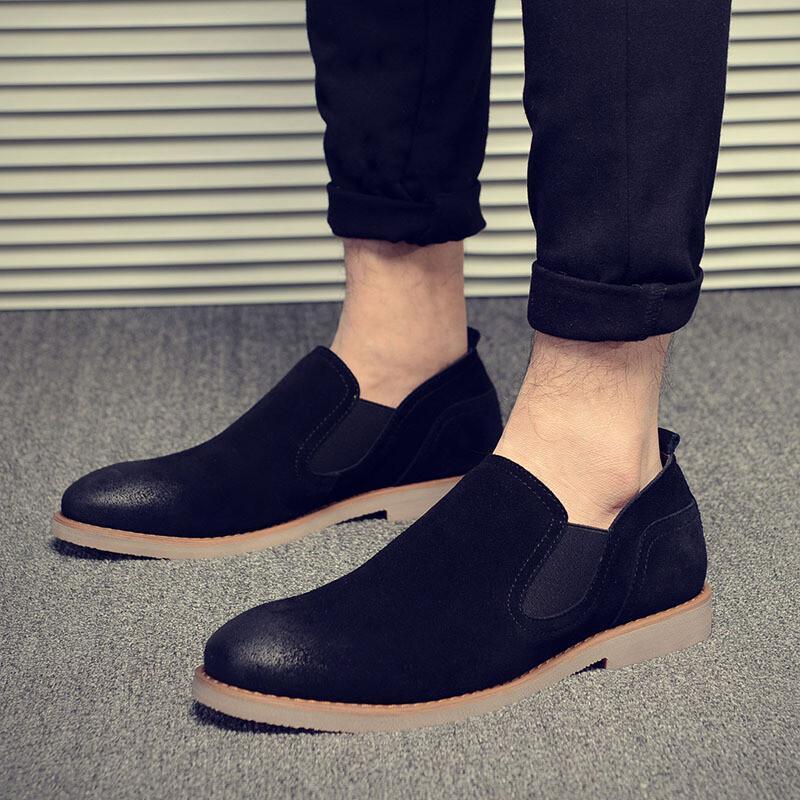 低帮切尔西靴男真皮一脚蹬懒人鞋英伦复古擦色马丁靴发型师潮鞋