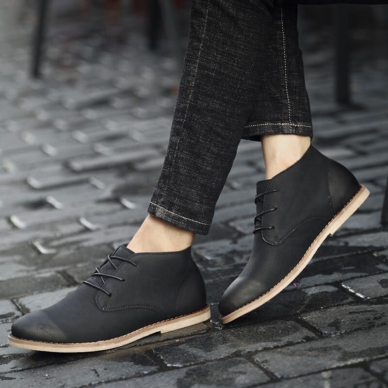高帮休闲皮鞋男圆头平底绑带英伦风擦色切尔西靴马丁靴