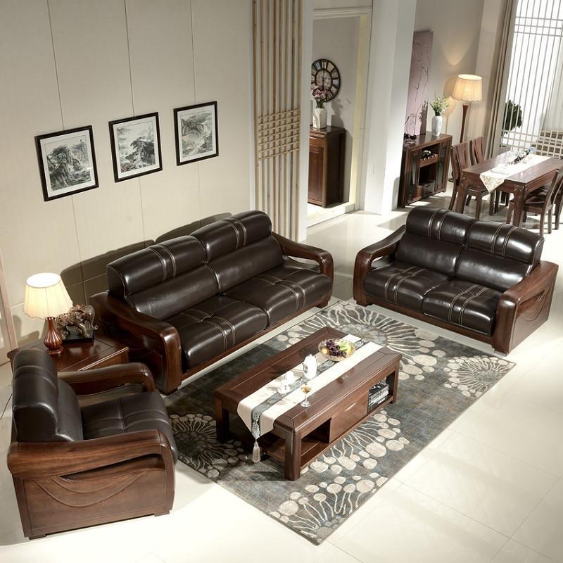 爵尼客厅?#30340;?#27801;发黑胡桃木沙发123组合客厅家具套装7887