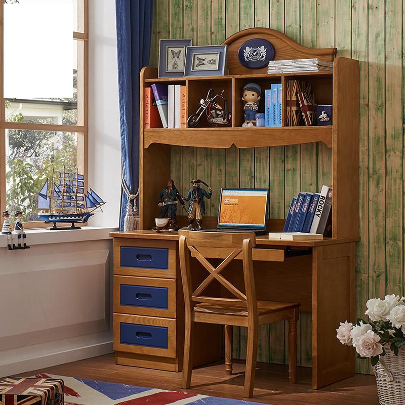 爵尼 美式儿童实木书桌 台式儿童实木电脑桌带书架图片