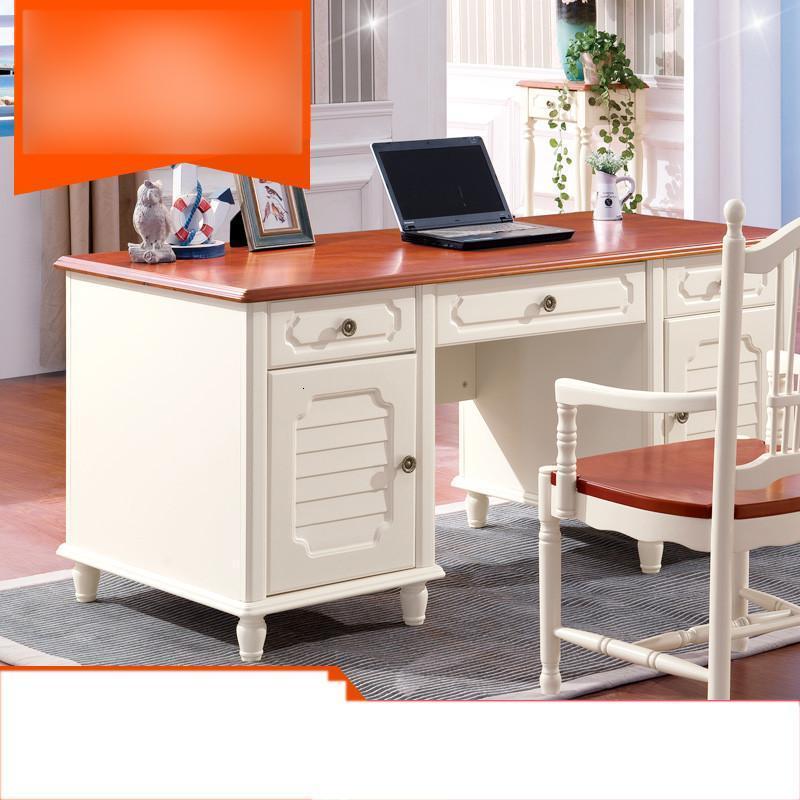 爵尼 白色简约美式乡村实木书台书桌 地中海电脑桌书房家具图片