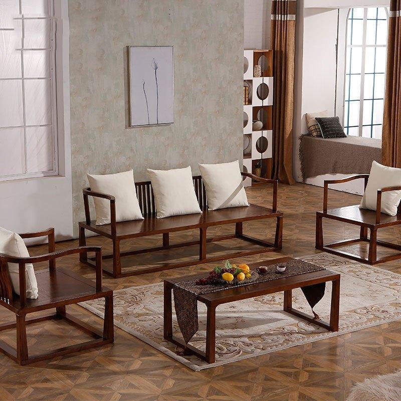 爵尼 新中式實木三人沙發組合現代中式風格客廳布藝家具6753圖片