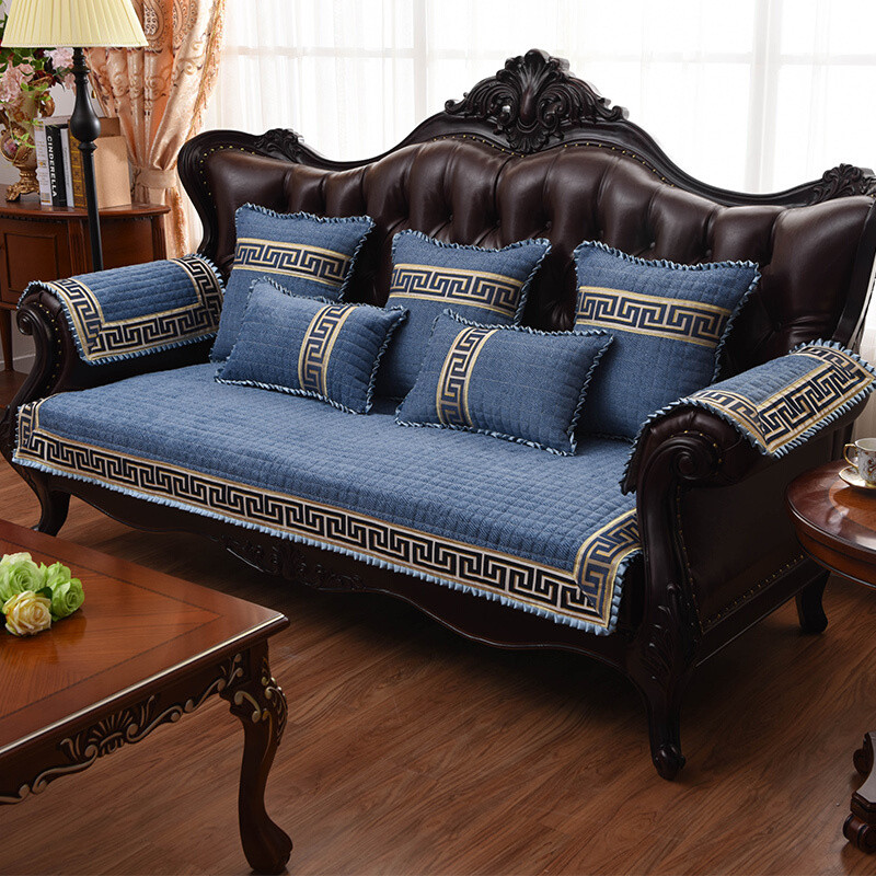 四季沙发垫布艺坐垫皮巾套罩中式实木红木蓝色纯色w图片