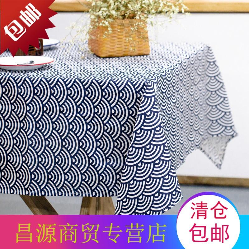 日式浮世绘桌布几何图案长方形布艺棉麻台布波浪纹野餐布