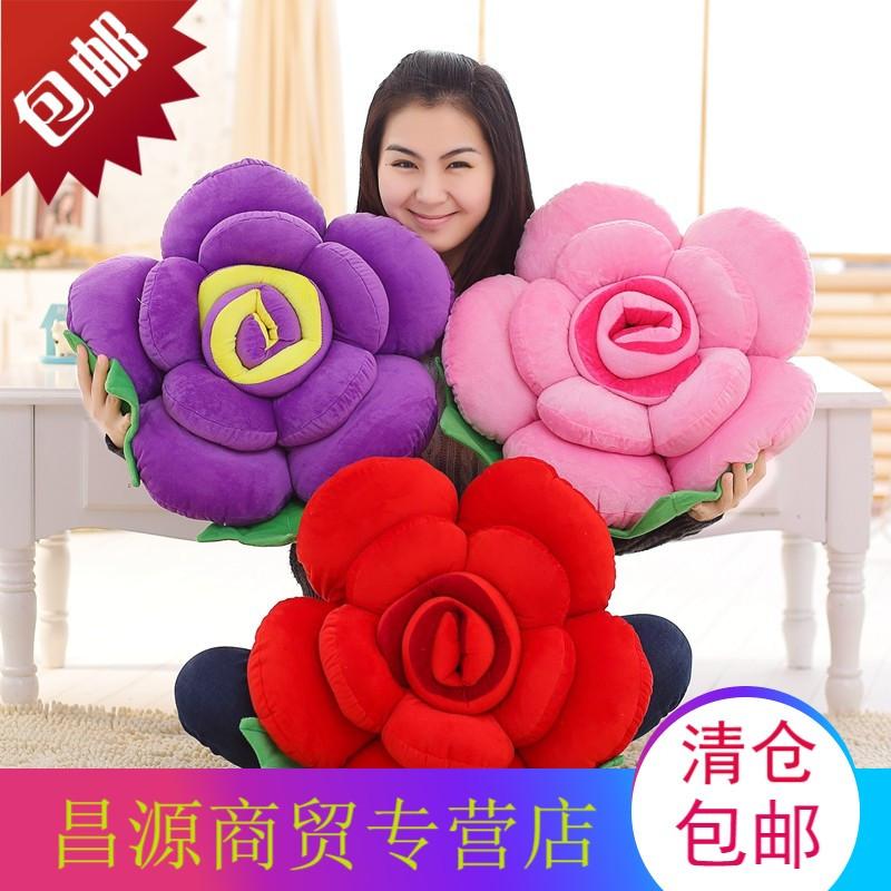 生日礼物女生创意结婚礼品 毛绒玫瑰花抱枕靠垫沙发靠枕汽车