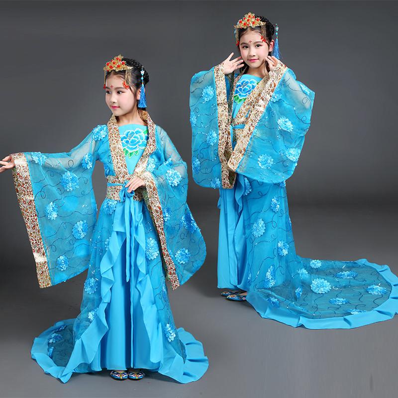 儿童古装服装仙女公主贵妃古典舞表演服汉服女童古代衣服古筝演出