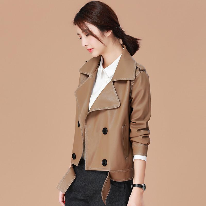 2018春装女装新款皮衣短外套女韩版西装领夹克宽松棒球服