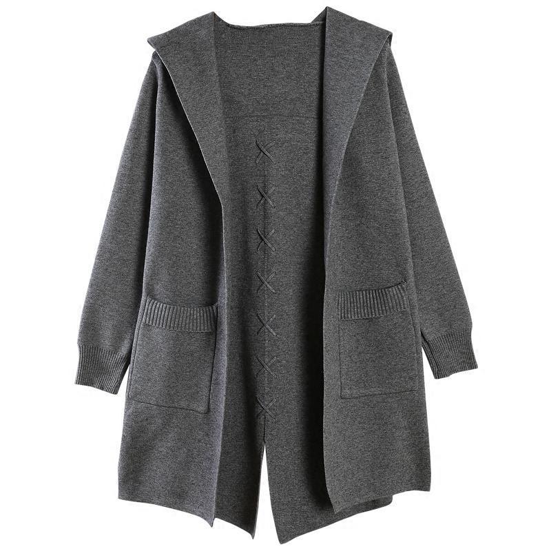 2017冬装新款中长款针织开衫韩版连帽毛衣女宽松休闲外套