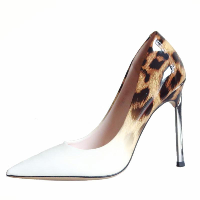 欧美性感豹纹女鞋2018春季新款细跟高跟鞋尖头浅口鞋漆皮显瘦单鞋