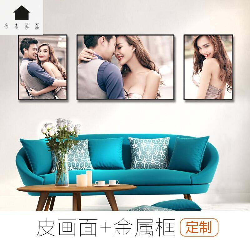 婚纱照相框挂墙皮雕黑色金属相框三组合放大创意定制客厅卧室韩式金色