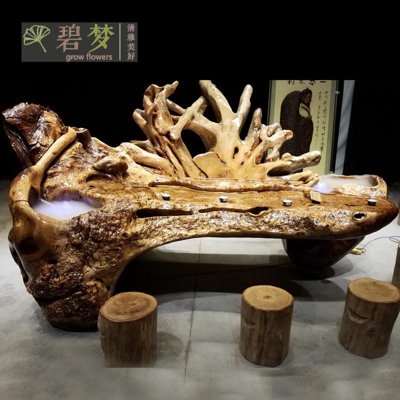 茶桌流水根雕茶台功夫树根茶艺桌整体实木茶几金丝楠木黄金樟