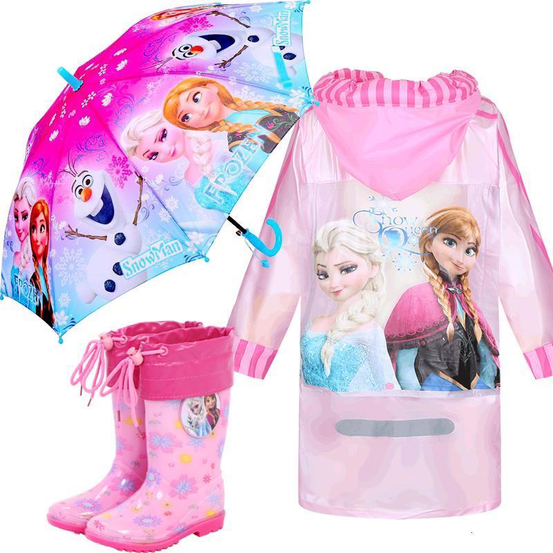 冰雪奇缘公主女童儿童宝宝卡通雨衣儿童雨披中大童小学生带书包位