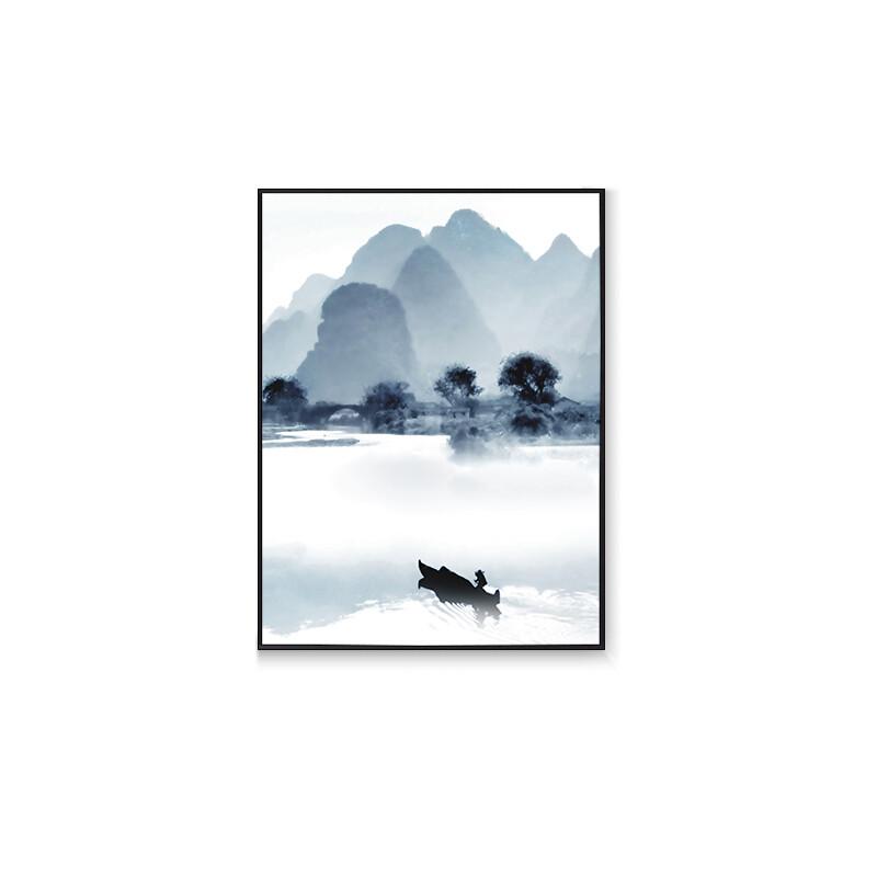 新中式意境山水装饰画玄关禅意壁画客厅国画挂画水墨三联画图片