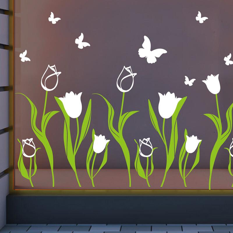 墙贴画花朵图案背胶自粘商铺橱窗装饰贴纸