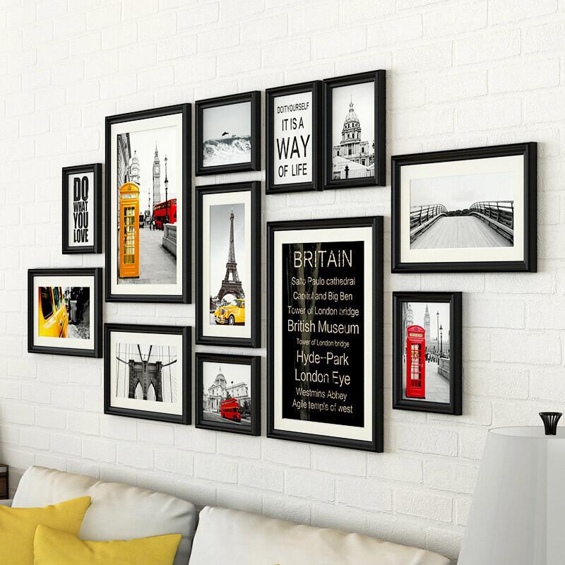 照片墙简约设计方形大号木质工艺卷居家客厅背景墙装饰组合